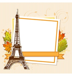 Autumn leaves and Eiffel Tower vector