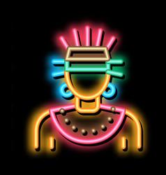 Aztec shaman neon glow icon vector