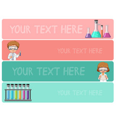 Banner templates with kids in science lab vector