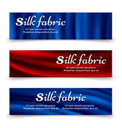 blue and red silk fabric banners template vector image