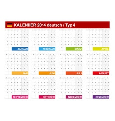 Calendar 2014 German Type 4 vector image