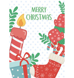 candle socks gift and gloves merry christmas card vector image