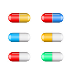cartoon capsule pill set isolated on white vector image
