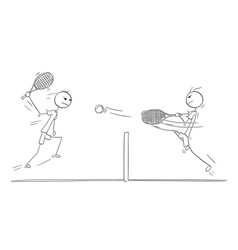 cartoon of two tennis players playing vector image
