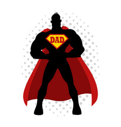 Cartoon silhouette of a superhero with dad symbol vector