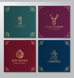 christmas abstract labels signs or cards vector image