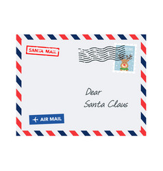christmas envelope with postage stamp dear santa vector image