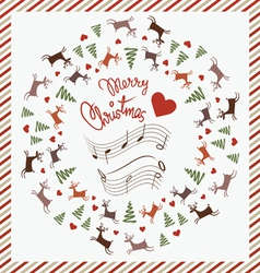Christmas post card with dancing deer vector