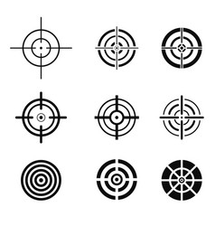 Collection black target icons aim signs set vector