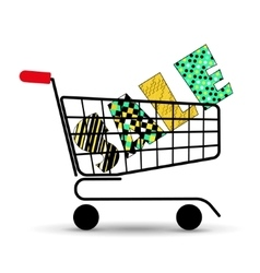 Concept of discount Shopping cart with sale vector