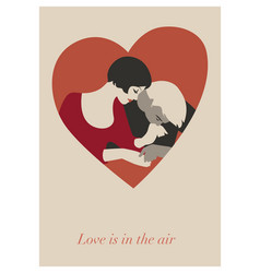 couple of lovers in a heart valentines day card vector image