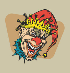 Crazy clown clipart vector
