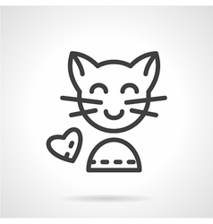 Cute cat simple line icon vector image