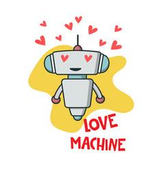 Cute robot in love vector
