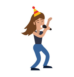 dancing girl party celebrate vector image