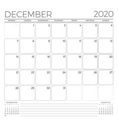 December 2020 monthly calendar planner template vector