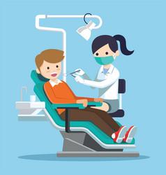 Dentist doctor examining patient vector