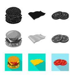 Design of burger and sandwich sign set of vector