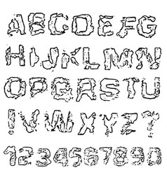 distressed grunge alphabet and numbers stamp ink vector image
