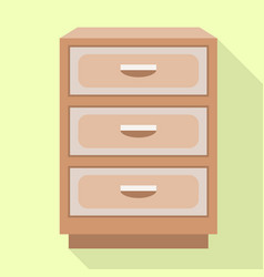 Drawer nightstand icon flat style vector