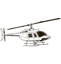 Drawing civil helicopter graphic vector