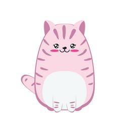 Fat pink cat design vector