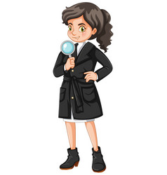 Female detective with magnifying glass vector