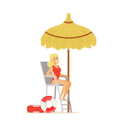 Female lifeguard in a red swimsuit watching vector