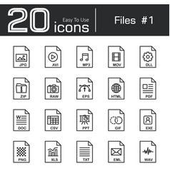 files icon set 1 vector image
