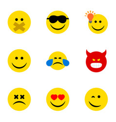 Flat icon gesture set of joy cross-eyed face vector