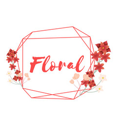 floral flower geometry frame white background vect vector image
