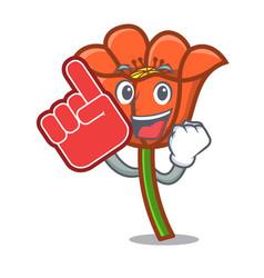 Foam finger poppy flower mascot cartoon vector