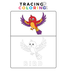 Funny bird tracing and coloring book with example vector