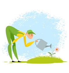 gardener watering a flower vector image