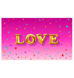 gold letter love balloons valentines day i love vector image