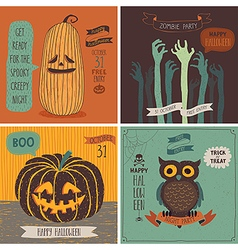 Halloween Cards set - hand drawn style vector