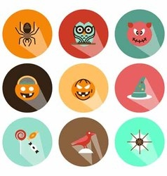 Halloween icons shadow vector image