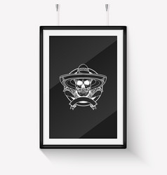 hand drawn sketch skull with maracas vector image
