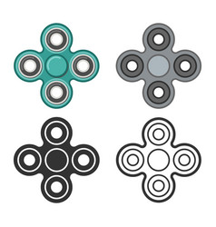 Hand fidget spinner color and line icons vector