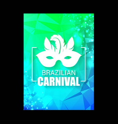 happy brazilian carnival day green and blue vector image