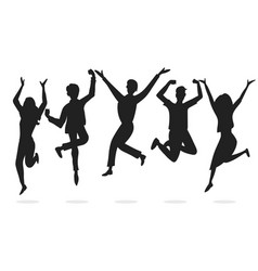 happy business workers jumping silhouettes vector image