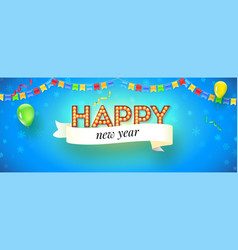 happy new year festive banner with lighting bulbs vector image