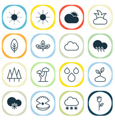 Harmony icons set collection of sprout oak vector