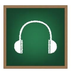 Headphones sign White chalk effect vector