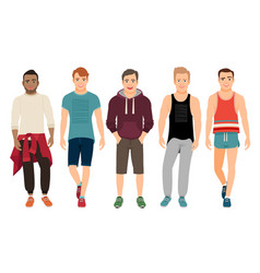 Healthy men in sports clothes vector