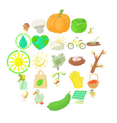 Horticulture icons set cartoon style vector