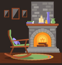 Interior of a living room with a fireplace and a vector