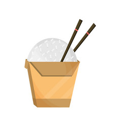 Japanese rice in box with chopsticks food flat vector