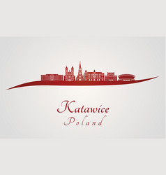 katowice skyline in red vector image