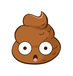 Kawaii shocked poop emoji vector